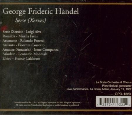 HAENDEL - Bellugi - Serse, opéra en 3 actes HWV.40 (aussi 'Xerxes') Live Scala di milano, 19 - 1 - 1962