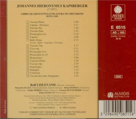 KAPSBERGER - Lislevand - Libro quarto d'intavolatura di chitarone