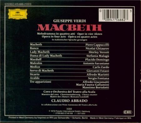 VERDI - Abbado - Macbeth, opéra en quatre actes (version italienne)