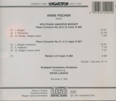 MOZART - Fischer - Concerto pour piano et orchestre n°20 en ré mineur K