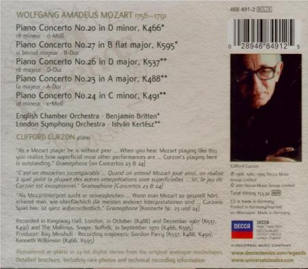 MOZART - Curzon - Concerto pour piano et orchestre n°20 en ré mineur K.4