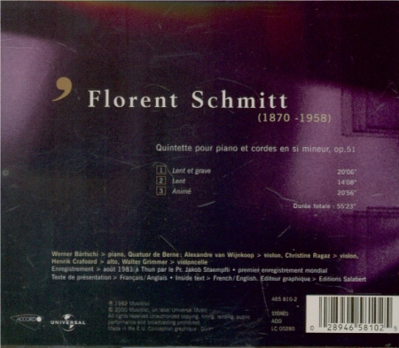 SCHMITT - Bärtschi - Quintette avec piano op.51