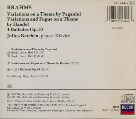 BRAHMS - Katchen - Quatre ballades pour piano op.10 'Edward'