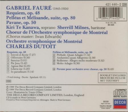 FAURE - Dutoit - Requiem pour voix, orgue et orchestre en ré mineur op.4