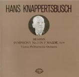 BRAHMS - Knappertsbusch - Symphonie n°3 pour orchestre en fa majeur op.9 import Japon