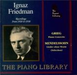 GRIEG - Friedman - Concerto pour piano en la mineur op.16