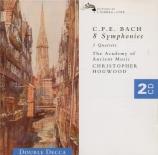 BACH - Hogwood - Six sinfonias pour deux violons, alto et basse Wq.182 '
