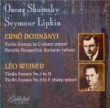 DOHNANYI - Shumsky - Sonate pour violon op.21