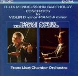MENDELSSOHN-BARTHOLDY - Rolla - Concerto pour violon et orchestre à cord