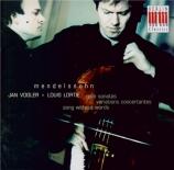MENDELSSOHN-BARTHOLDY - Vogler - Sonate pour violoncelle et piano n°1 en