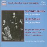 MENDELSSOHN-BARTHOLDY - Thibaud - Trio avec piano n°1 en ré mineur op.49