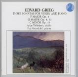 GRIEG - Tellefsen - Sonate pour violon et piano n°1 op.8
