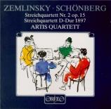ZEMLINSKY - Artis Quartett - Quatuor à cordes n°2 op.15