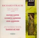 STRAUSS - Del Mar - Vier letzte Lieder (Quatre derniers lieder), pour so