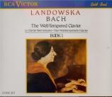 BACH - Landowska - Le clavier bien tempéré, Livre 1 BWV 846-869