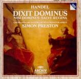 HAENDEL - Preston - Dixit Dominus (Psaume 110), psalm setting pour sopra