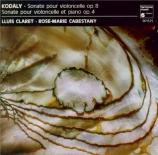 KODALY - Claret - Sonate pour violoncelle seul op.8
