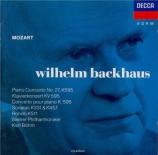 MOZART - Backhaus - Concerto pour piano et orchestre n°27 en si bémol ma