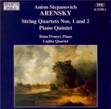 ARENSKY - Lajtha Quartet - Quatuor à cordes n°2 op.35