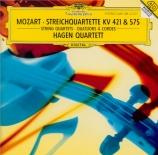 MOZART - Hagen Quartett - Quatuor à cordes n°15 en ré mineur K.421 (K6.4