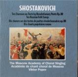CHOSTAKOVITCH - Popov - Poèmes (10) pour choeur a cappella sur des texte