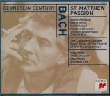 BACH - Bernstein - Passion selon St Matthieu(Matthäus-Passion), pour so version abrégée