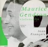BEETHOVEN - Gendron - Sonate pour violoncelle et piano n°1 op.5 n°1