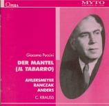 PUCCINI - Krauss - Il Tabarro (Live, Stuttgart 23 - 1 - 1938 (en allemand)) Live, Stuttgart 23 - 1 - 1938 (en allemand)