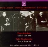 SCHUBERT - Oistrakh - Trio avec piano n°1 en si bémol majeur op.99 D.898 Trio Oistrakh Vol.1