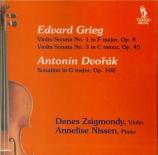 GRIEG - Zsigmondy - Sonate pour violon et piano n°1 op.8
