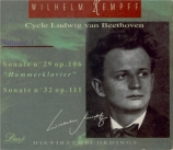 BEETHOVEN - Kempff - Sonate pour piano n°32 op.111 Cycle Beethoven Vol.1