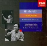 HINDEMITH - Abbado - Kammermusik n°4, pour violon et orchestre op.36 n°3