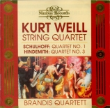 WEILL - Brandis Quartet - Quatuor à cordes op.8