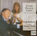 FAURE - Bobesco - Sonate pour violon et piano n°1 en la majeur op.13
