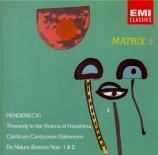 PENDERECKI - Penderecki - Anaklasis, pour cordes et percussion