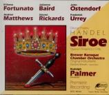 HAENDEL - Palmer - Siroe, re di Persia, opéra en 3 actes HWV.24