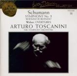 SCHUMANN - Toscanini - Symphonie n°3 pour orchestre en mi bémol majeur o