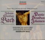 BACH - Röschmann - Passion selon St Jean(Johannes-Passion), pour solist version 1749