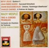 JOLAS - Auriacombe - Quatuor II pour soprano