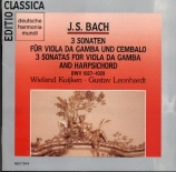 BACH - Kuijken - Sonates pour viole de gambe et clavier BWV 1027-1029