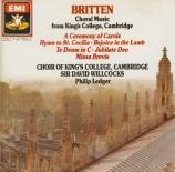 BRITTEN - Ledger - A ceremony of carols, pour voix et harpe (ou piano) o