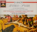BACH - Klemperer - Passion selon St Matthieu(Matthäus-Passion), pour so