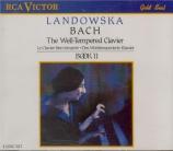 BACH - Landowska - Clavier bien tempéré (Le) Livre 2 BWV 870-893