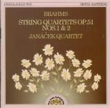 BRAHMS - Janacek Quartet - Quatuor à cordes n°1 en do mineur op.51 n°1