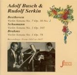 BEETHOVEN - Busch - Sonate pour violon et piano n°7 op.30 n°2