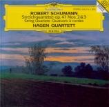 SCHUMANN - Hagen Quartett - Quatuor à cordes n°2 en fa majeur op.41 n°2