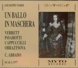 VERDI - Abbado - Un ballo in maschera (Un bal masqué), opéra en trois ac Live Scala di Milano, 30 - 12 - 1977