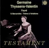 FAURE - Thyssens Valent - Thème et variations pour piano en ut dièse min
