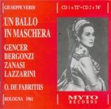 VERDI - De Fabritiis - Un ballo in maschera (Un bal masqué), opéra en tr Live 28.11.1961 Bologna