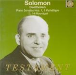 BEETHOVEN - Solomon - Sonate pour piano n°7 op.10 n°3